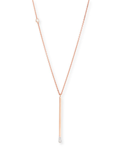18K Rose Gold Diamond Melee Matchstick Necklace