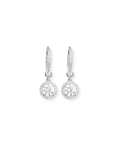 18K White Gold Round Diamond Drop Earrings