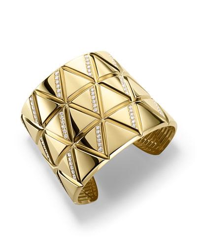 18K Yellow Gold Triangoli Diamond Cuff Bracelet
