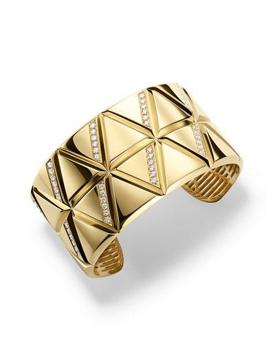 18K Yellow Gold Small Triangoli Diamond Cuff Bracelet