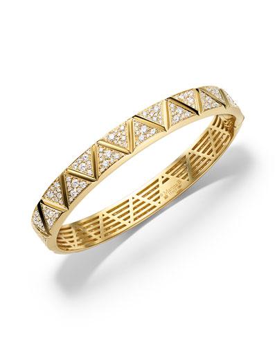 18K Yellow Gold Triangoli Diamond Bangle Bracelet
