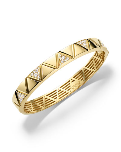 18K Gold Single-Row Diamond Triangoli Bangle Bracelet