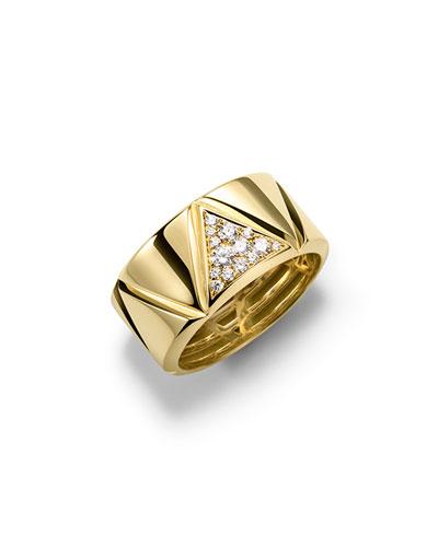 18K Yellow Gold Single-Row Triangoli Diamond Ring