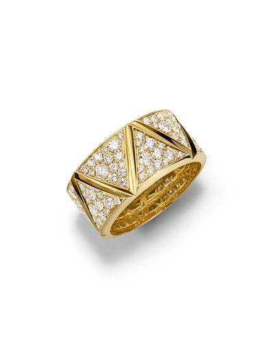 18K Yellow Gold Single-Row Triangoli Full Pavé Diamond Ring