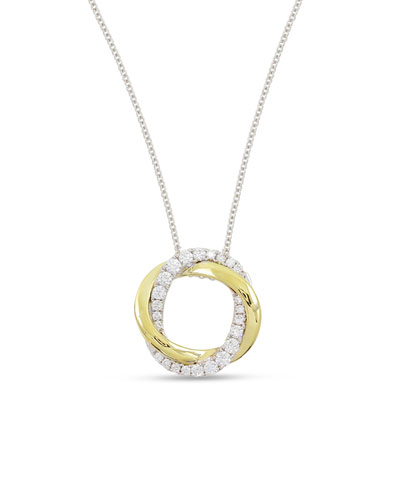 18K Gold Interlocking Halo Diamond Pendant Necklace