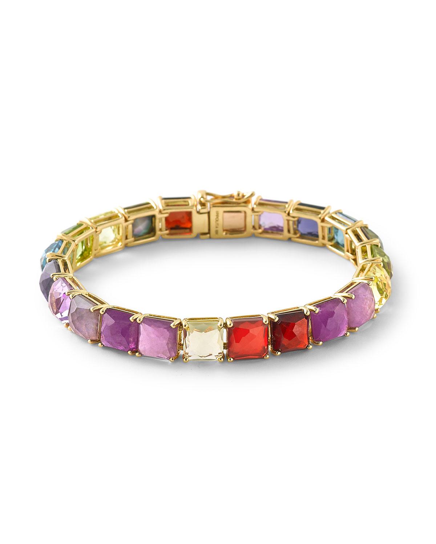 18K Rock Candy Tennis Bracelet in Fall Rainbow