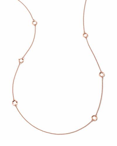 18K Rose Gold Glamazon Mini Wavy Circle Necklace, 40