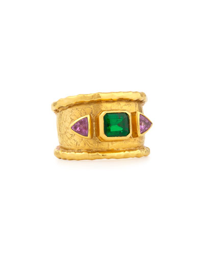 22K Emerald & Pink Sapphire Ring, Size 8