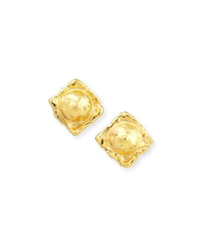 Carrees 22K Yellow Gold Stud Earrings