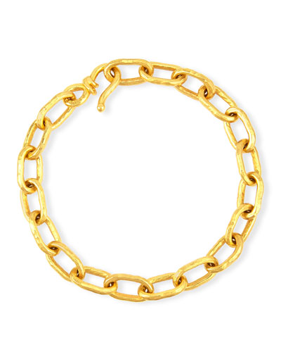 Cadene 20 22K Yellow Gold Wide Link Bracelet