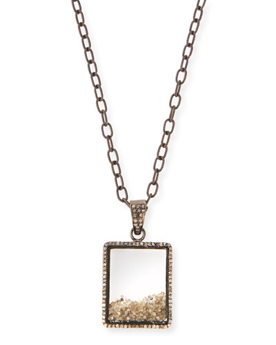 Diamond Box Pendant Necklace, 35