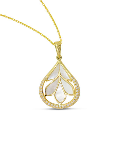 18K Gold Folia Mother-of-Pearl Pendant Necklace