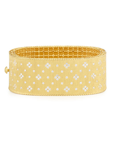 Princess 18K Yellow Gold Wide Diamond Bangle