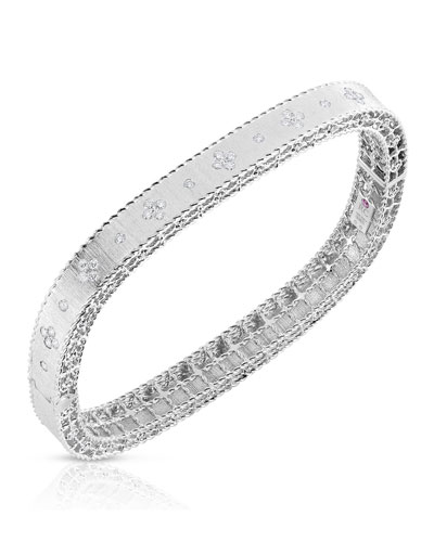 Princess 18K White Gold Narrow Diamond Bangle