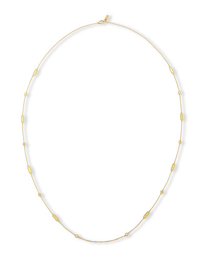 Barocco 18K Yellow Gold Diamond Station Necklace, 36