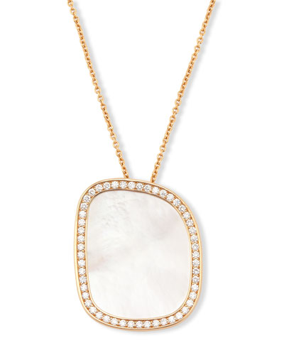 Mother-of-Pearl 18K Rose Gold Pendant Necklace w/Pavé Diamonds