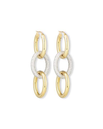18K Gold Three-Loop Diamond Drop Earrings