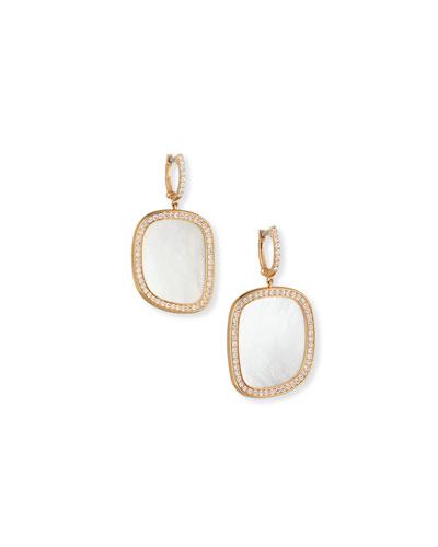 Mother-of-Pearl 18K Rose Gold Diamond-Edge Earrings
