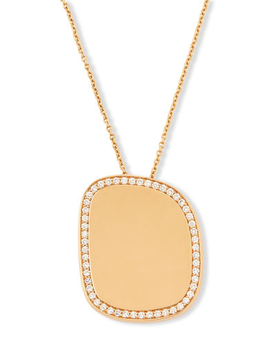 Golden Jade 18K Rose Gold Polished Pendant Necklace w/Pavé Diamonds