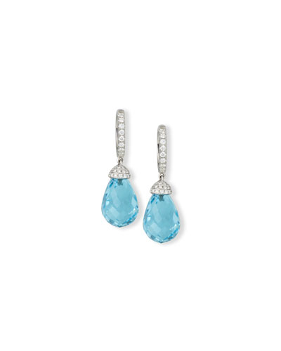 18K White Gold & Blue Topaz Briolette Earrings