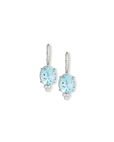 18K White Gold & Blue Topaz Oval Drop Earrings