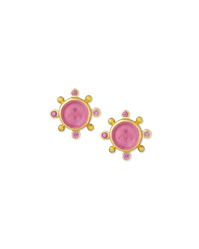 19K Gold Tiny Bee Pink Sapphire Earrings