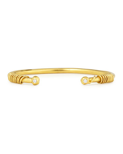 22K Gold Spiral Cuff Bracelet w/Diamonds