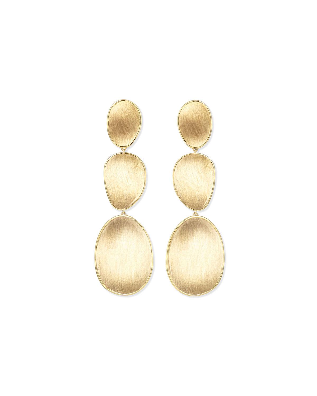 18K Lunaria Triple-Drop Earrings