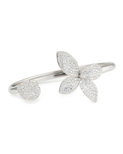Giardini Segreti 18K White Gold Diamond Flower Bangle