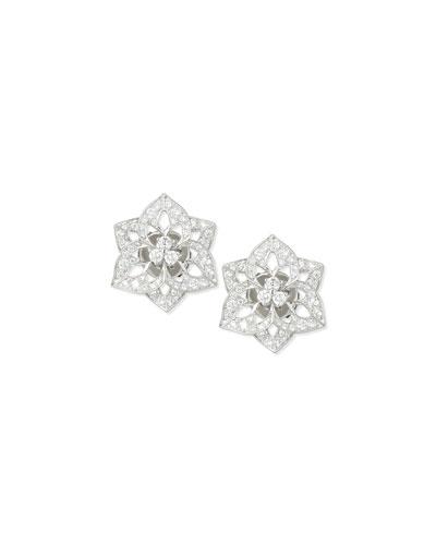 Pensee 18K White Gold Diamond Stud Earrings