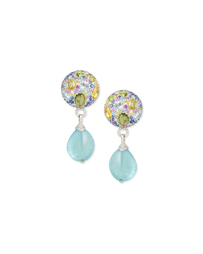 18K White Gold Multi-Stone & Aquamarine Drop Earrings