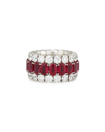 18K White Gold Expanding Ruby & Diamond Ring