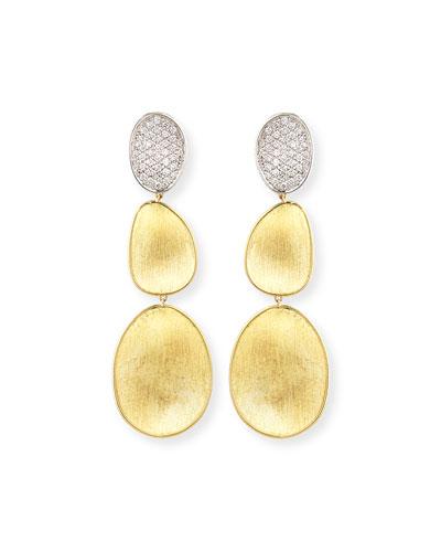 18K Lunaria Diamond Triple-Drop Earrings