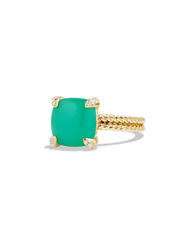 Châtelaine 18k Gold 11mm Chrysoprase Ring w/ Diamonds, Size 6