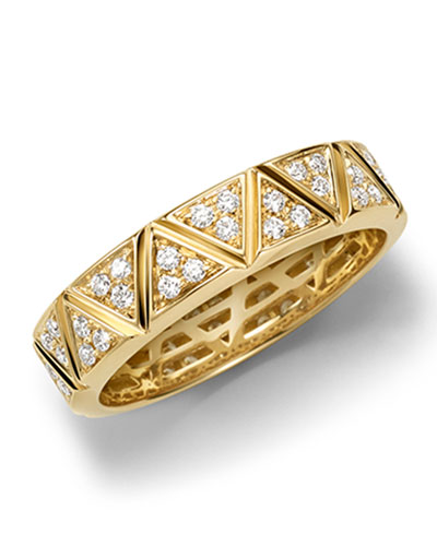 Triangoli 18K Gold Full Pavé Diamond Ring
