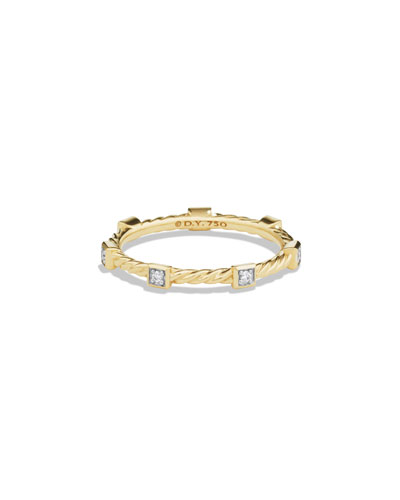 Cable Collectibles 18K Diamond Stacking Ring with Diamonds, Size 6