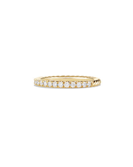 David Yurman Cable Collectibles Pave Diamond Band Ring in 18K Yellow Gold, Size 7