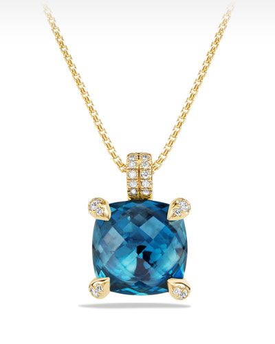 Châtelaine 11mm Faceted Hampton Blue Topaz & Diamond Pendant Necklace