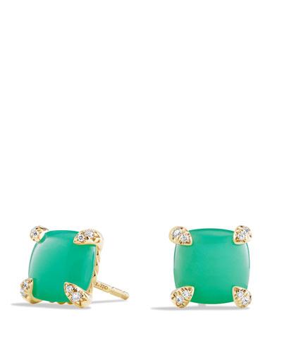 Châtelaine 8mm Cabochon Chrysoprase & Diamond Earrings