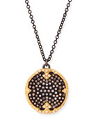 "Old World Midnight Pavé Diamond Disc Pendant Necklace, 32""L"
