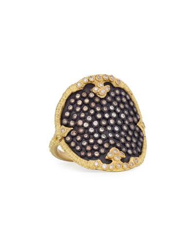 Old World Midnight Diamond Shield Ring, Size 7