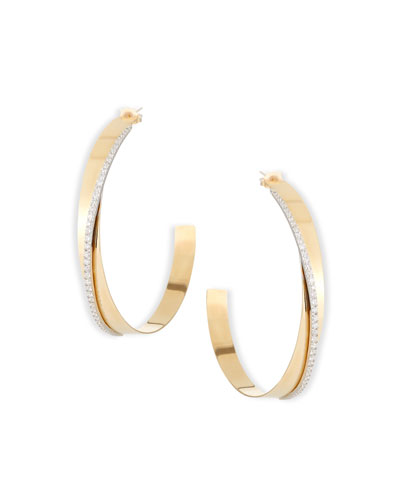 Large Vanity Expose Twisted 14K Gold & Diamond Hoop Earrings