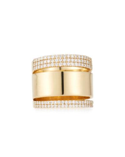 Vanity Expose 14K Gold & Diamond Ring, Size 7