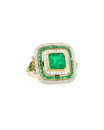 Estate Edwardian Three-Row Emerald & Diamond Dinner Ring, Size 6.25