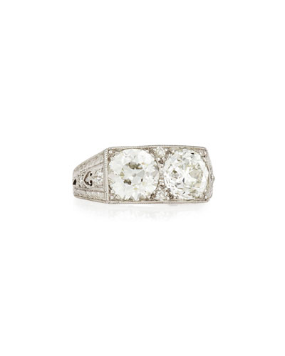 Estate Art Deco Two-Stone Diamond Ring, Size 7