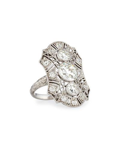 Estate Edwardian Three-Stone Diamond Dinner Ring, Size 4.5