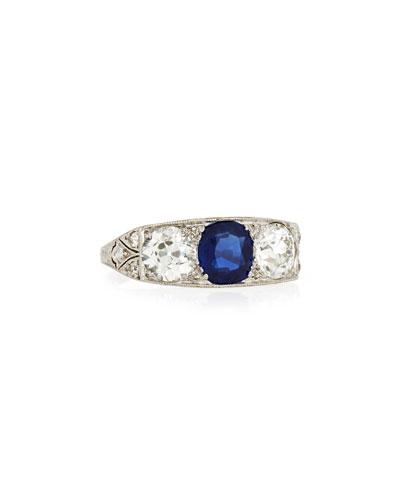 Estate Edwardian Three-Stone Sapphire & Diamond Ring, Size 5.5
