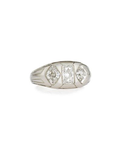 Estate Art Deco Lozenge & Emerald-Cut Diamond Gents Ring, Size 10