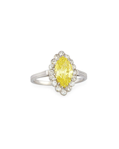 Estate Art Deco Marquise Yellow Diamond Cluster Ring, Size 5