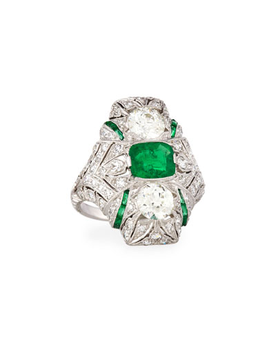Estate Art Deco Diamond & Emerald Ring, Size 6.25